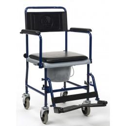 Wózek toaletowy z pojemnikiem sanitarnym na czterech kołach.