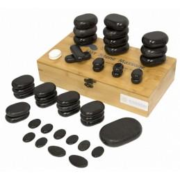 Zestaw 45 bazaltowych kamieni do masażu