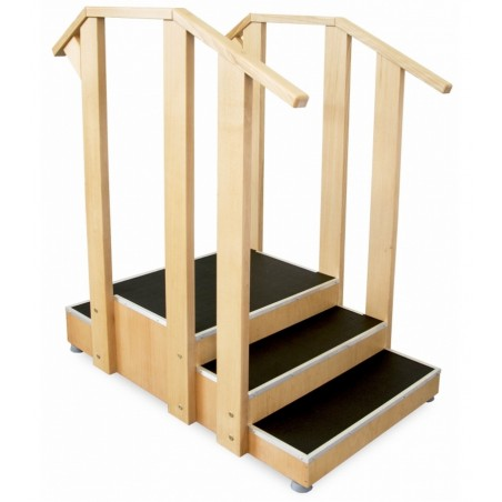 Dwustronne schody do nauki chodzenia drewniane z barierką, podgumowane
