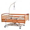 Łóżko rehabilitacyjne elektryczne XXL dla osób ciężkich barierki drewniane, wysięgnik