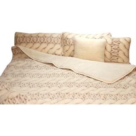 Zestaw MAXI merynos baranizowany, kołdra+ podkład + poduszki + wałeczki
