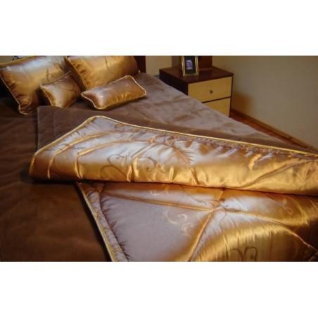 Zestaw MAXI- kołdra + podkład + poduszki + wałeczki Camel/Kaszmir + satyna różne wzory