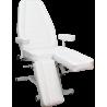 Ekskluzywny fotel kosmetyczny, elektryczny z pikowaną tapicerką i dzielonym podnóżkiem