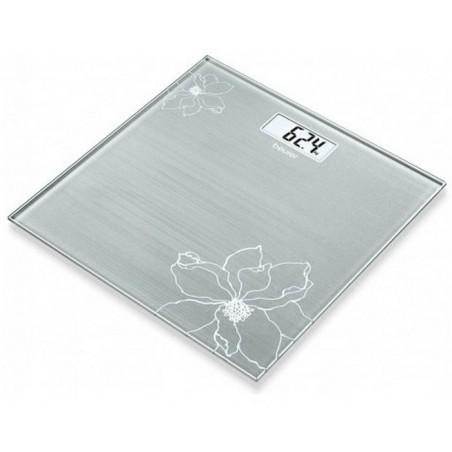 BEURER Elegancka Waga łazienkowa szklana z motywem kwiatowym do 180 kg