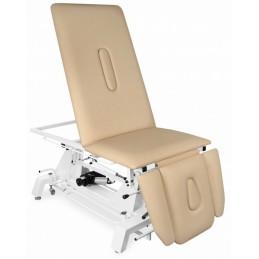 JUVENTAS stół rehabilitacyjny posiada leże umożliwiające uzyskanie pozycji fotela, trzyczęściowy