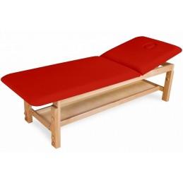 Leżanka drewniana.  Posiada lekką drewnianą konstrukcję i wygodny materac.