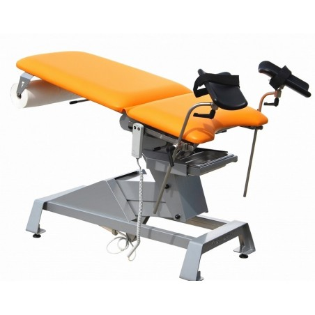 Fotel ginekologiczny z elektryczną regulacją wysokości oraz manualną regulacją opacia i siedziska.