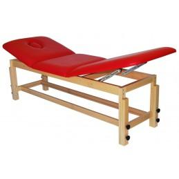 Leżanka drewniana z regulowaną wysokością oraz regulowanym podgłówkiem i podnóżkiem.